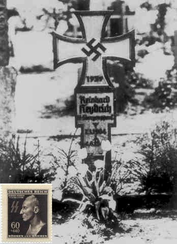 Heydrich grave and death mask postage stamp