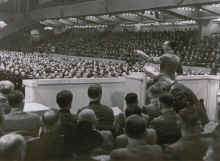 Joseph Goebbels harangues the party faithful in the Sportpalast, February 18, 1943.